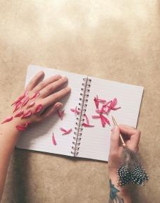 girl, book, petals, writing, newsletter